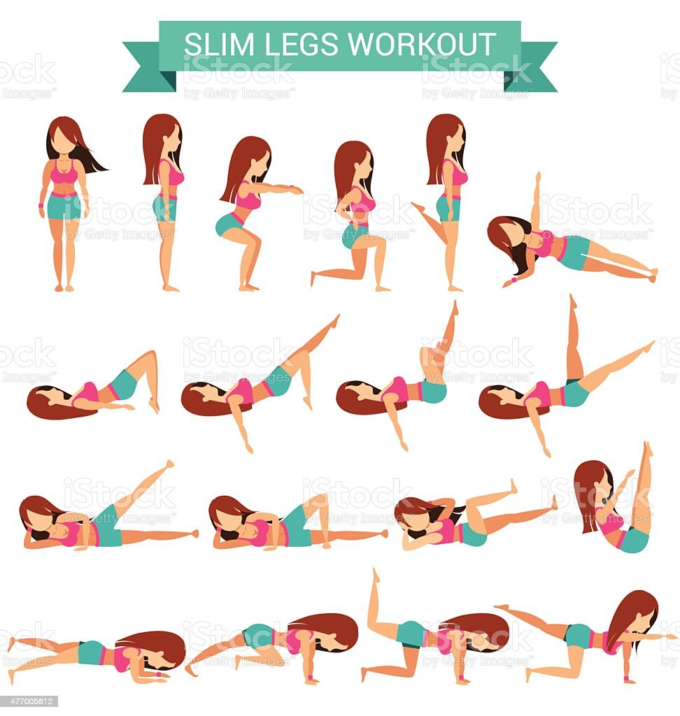 Set of cardio exercise for slim legs workout vector art illustration