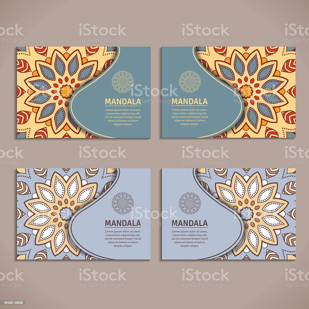 Set Of Cards Flyers Brochures Templates With Mandala Pattern