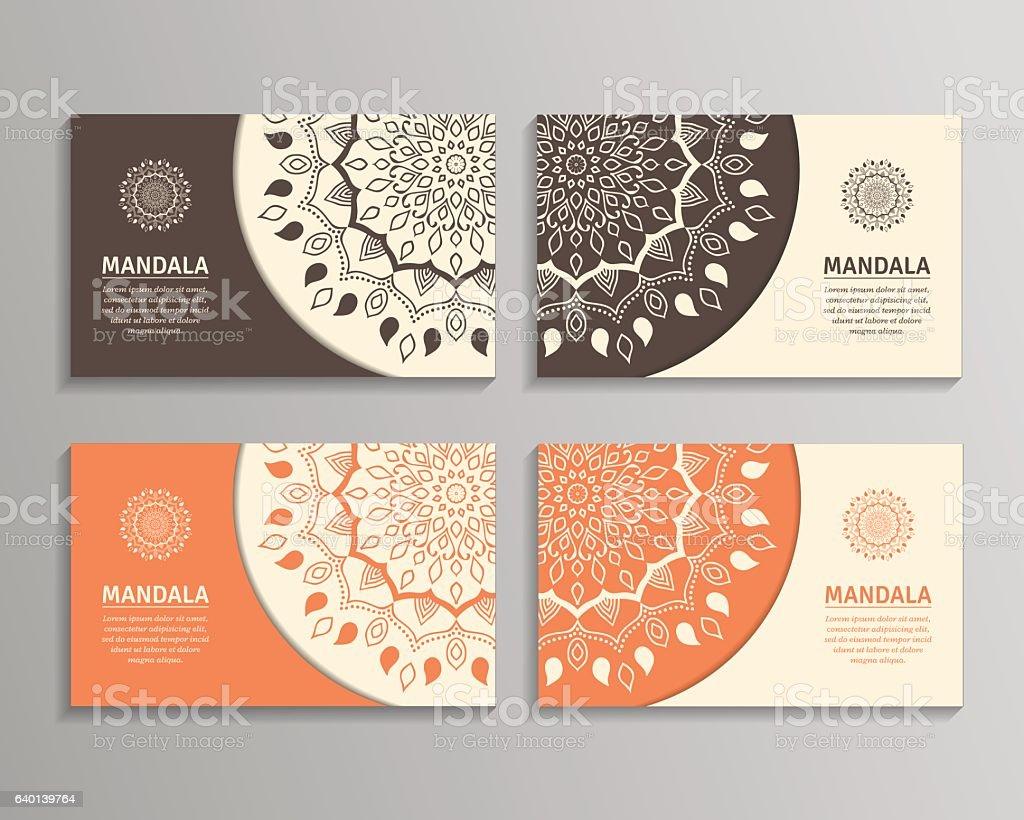 Set Of Cards Flyers Brochures Templates With Mandala Pattern Stock Vektor  Art und mehr Bilder von Abstrakt