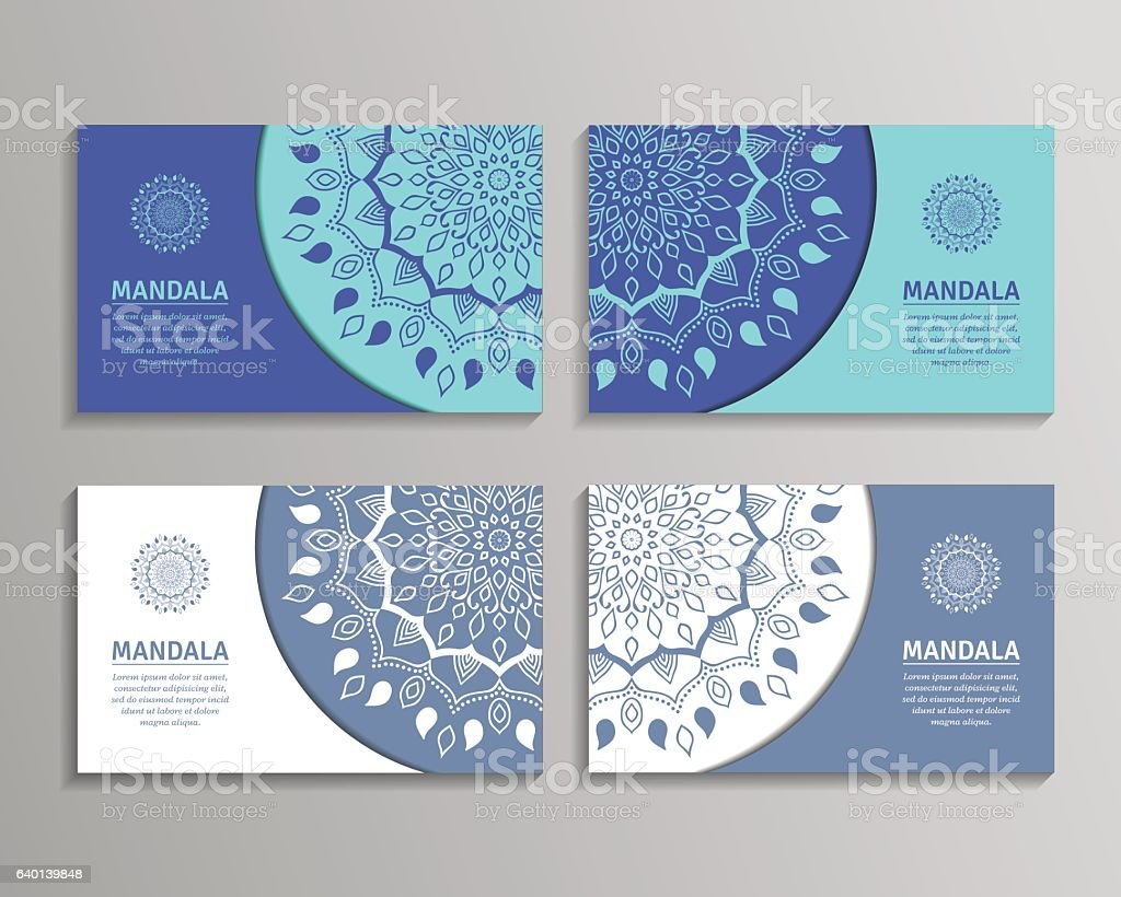 Set Of Cards Flyers Brochures Templates With Mandala Pattern Stock