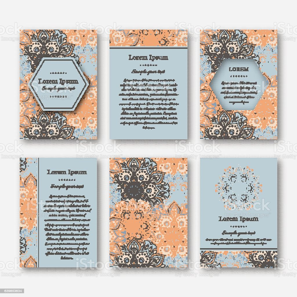Set Of Cards Flyers Brochures Templates With Mandala Vecteurs