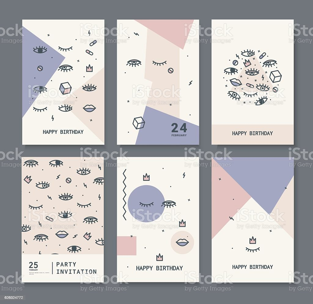 set of cards for the holiday. vector art illustration