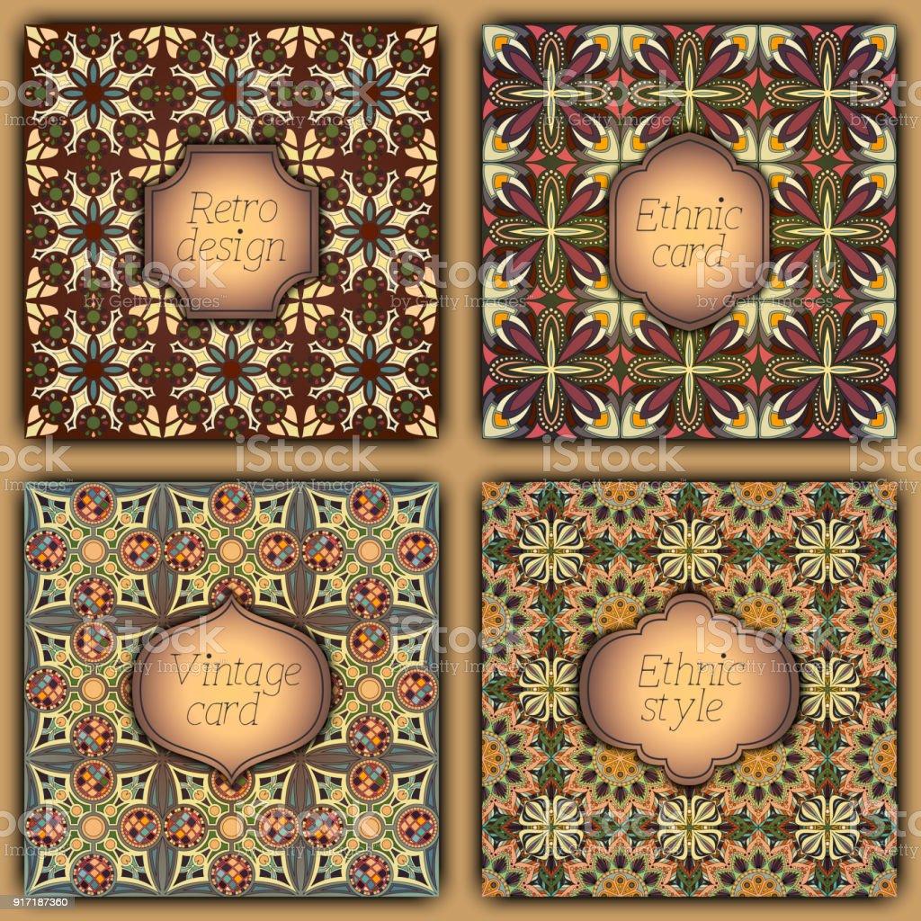Juego De Cartas En Estilo Vintage Plantillas De Diseño Vectorial ...