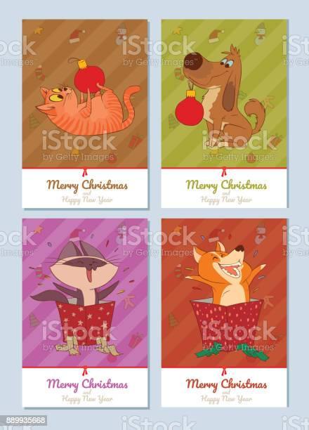 Set of cards merry christmas cute cats and dogs vector id889935668?b=1&k=6&m=889935668&s=612x612&h=mwp4k99nyo smnqigjkhyvq zcqck pj0vw7o3jhpgm=