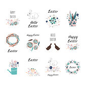 Set of Easter gift element with cute cartoon characters and type design . Easter greetings with cute bunny, bird, eggs and flowers. Vector illustration.