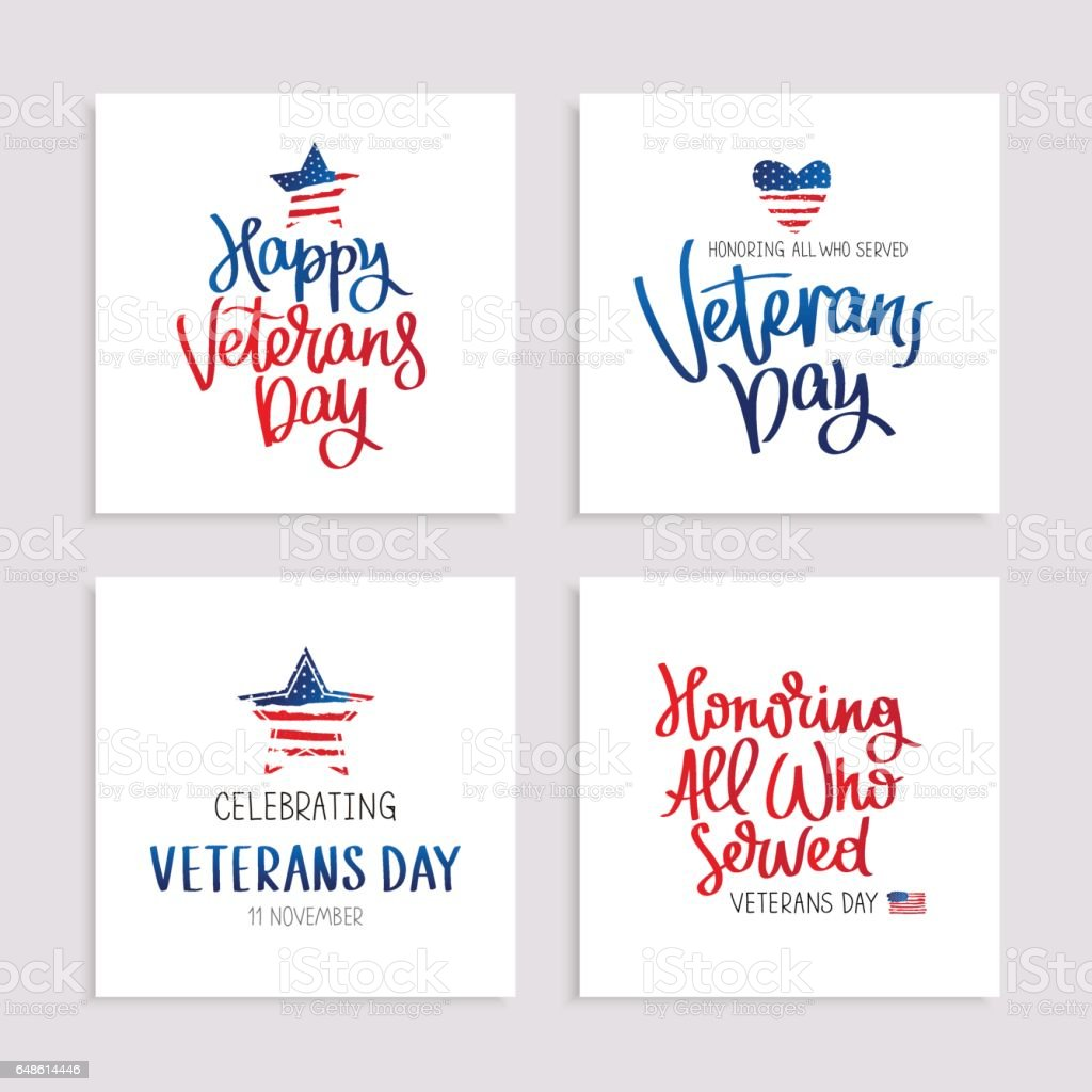 Set of cards to Veterans Day vector art illustration