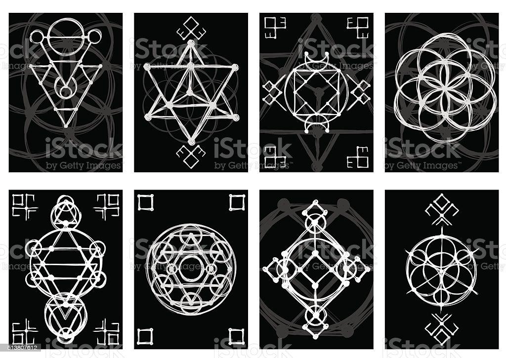 Ensemble De Cartes Visite Abstrait Dessine A La Main Avec Dessin Geometrie Sacree