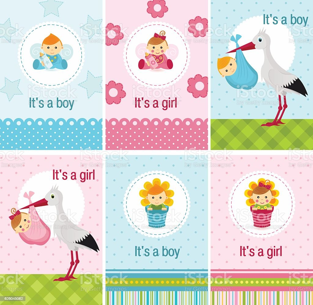set of cards with baby girl and boy - ilustración de arte vectorial