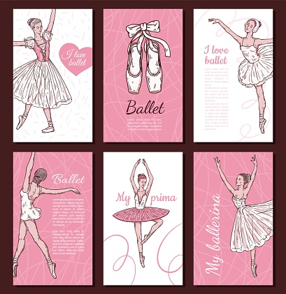 Set of cards with ballerina and lettering phrases, sketch vector illustration.