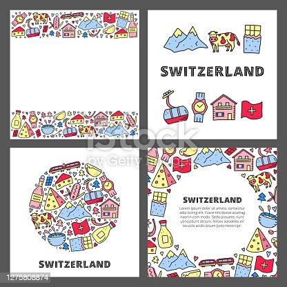 istock Set of cards with doodle outline Switzerland travel icons. 1275808874