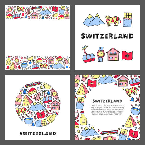 kartenset mit doodle umreißt schweiz reisesymbole. - raclette stock-grafiken, -clipart, -cartoons und -symbole