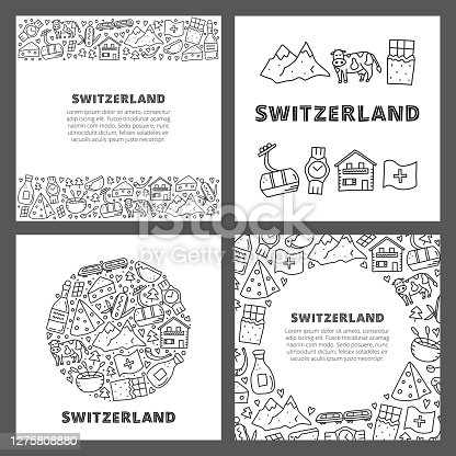 istock Set of cards with doodle outline Switzerland travel icons. 1275808880