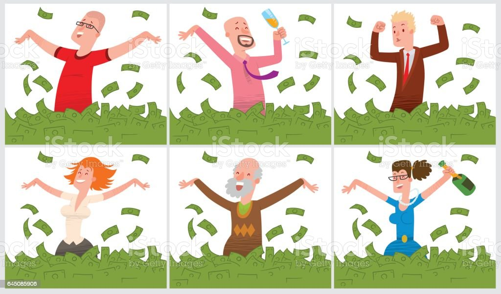 Set of cards with happy people bathing in money vector art illustration