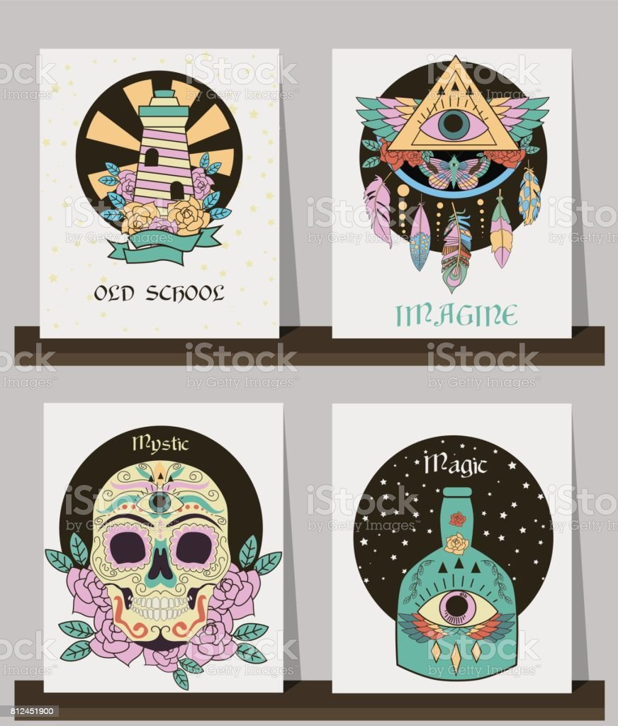 11eff26159b5f Set of cards with old school tattoos elements royalty-free set of cards  with old