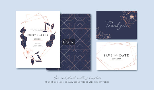 Set of cards with sea elements, flowers, leaves, pink gold geometrical frames and pattern. Wedding ornament concept. Vector decorative cards. Thank you card. Save the date card. clipart