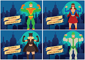 """Vector set of cards with cartoon images of two men and two women superheroes in different superheroes costumes standing and smiling on the background of night city. Banner """"To serve and protect""""."""