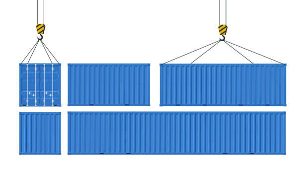ilustrações, clipart, desenhos animados e ícones de conjunto de contentores para transporte de mercadorias. guindaste levanta recipiente azul. conceito de entrega em todo o mundo. - recipiente