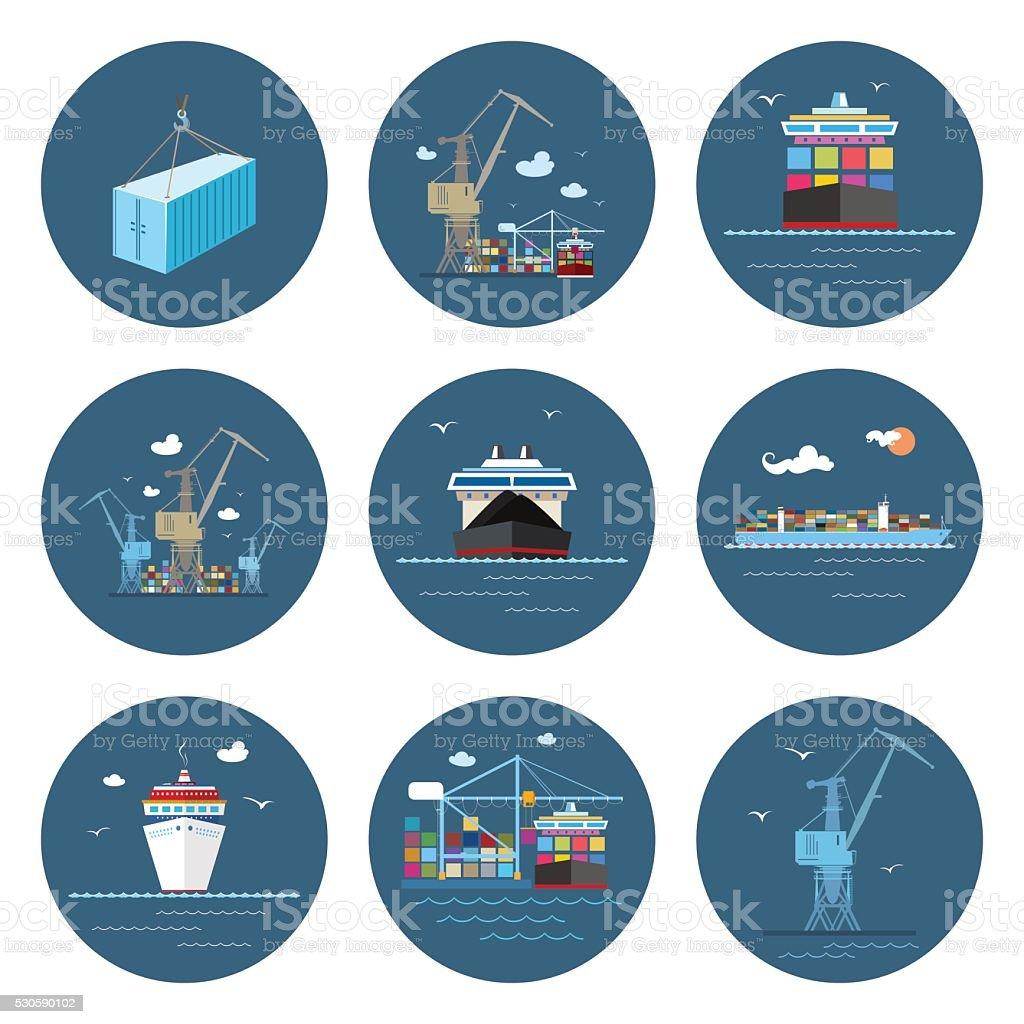 Set of Cargo Icons, Freight Transportation vector art illustration