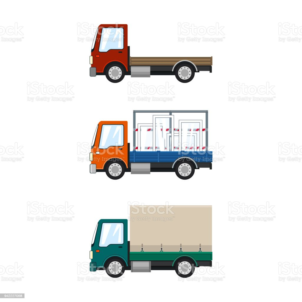 Set of Cargo Trucks Isolated vector art illustration