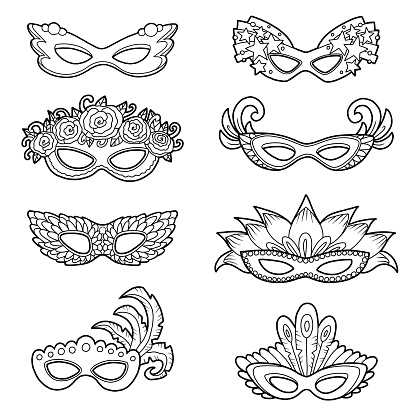 Set of carnival masks, black and white collection of cartoon accessories