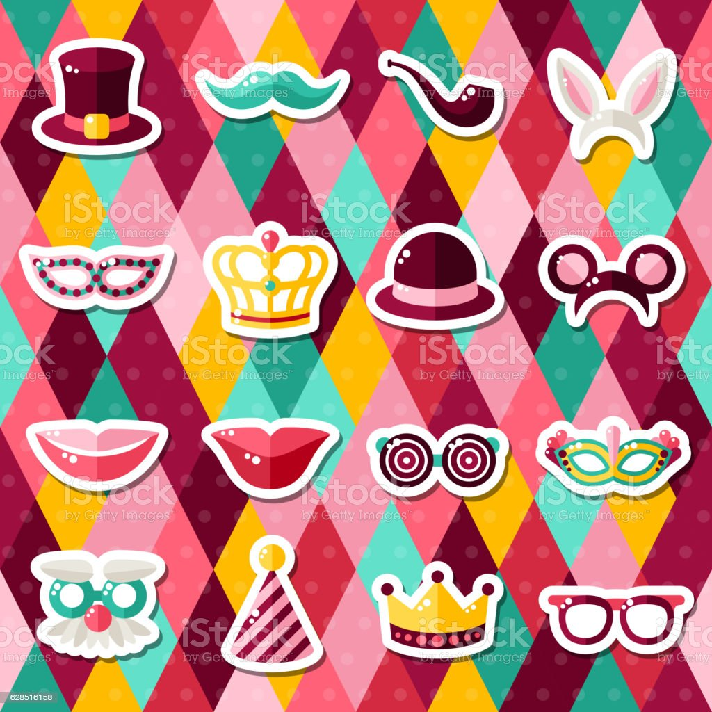 set of carnival masks on geometric background うさ耳カチューシャの