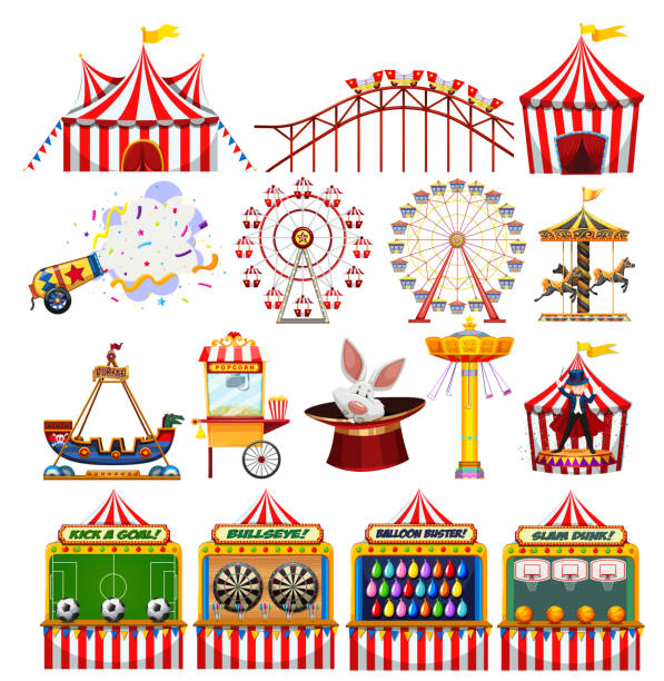 illustrazioni stock, clip art, cartoni animati e icone di tendenza di set of carnival objects - luna park
