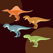 Vector image of a Set of carnivore dinosaurs like t-rex