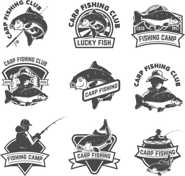stockillustraties, clipart, cartoons en iconen met set van karper vissen etiketten geïsoleerd op een witte achtergrond. designelementen voor lalbel, embleem, teken. vectorillustratie. - carp