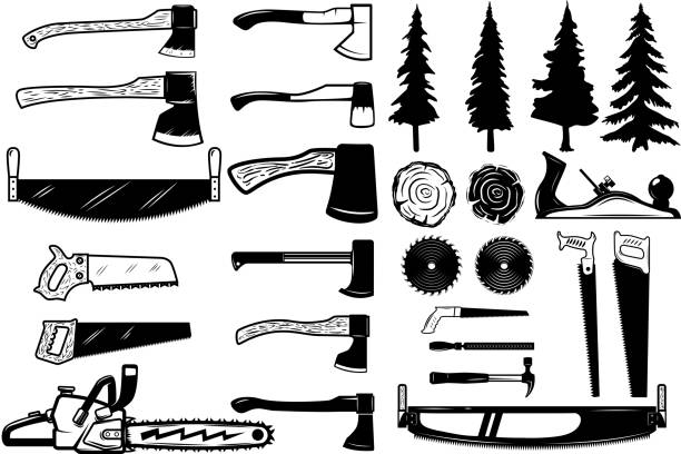 stockillustraties, clipart, cartoons en iconen met set van tools, hout en bomen iconen van de timmerman. ontwerpelementen voor label, embleem, teken. vectorillustratie - saw