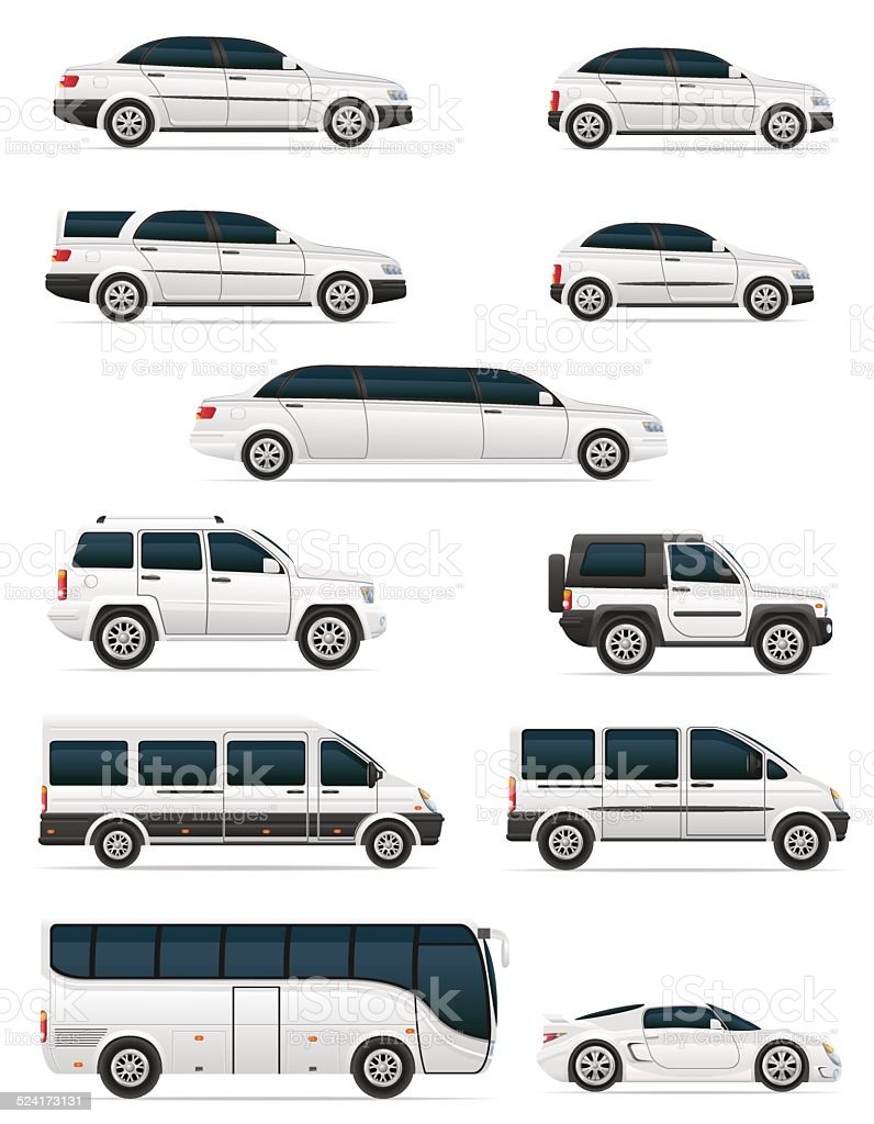 set of cars for the transportation passengers vector illustration vector art illustration