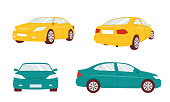 A set of cars in different angles. Vector sedan illustration isolated on white background