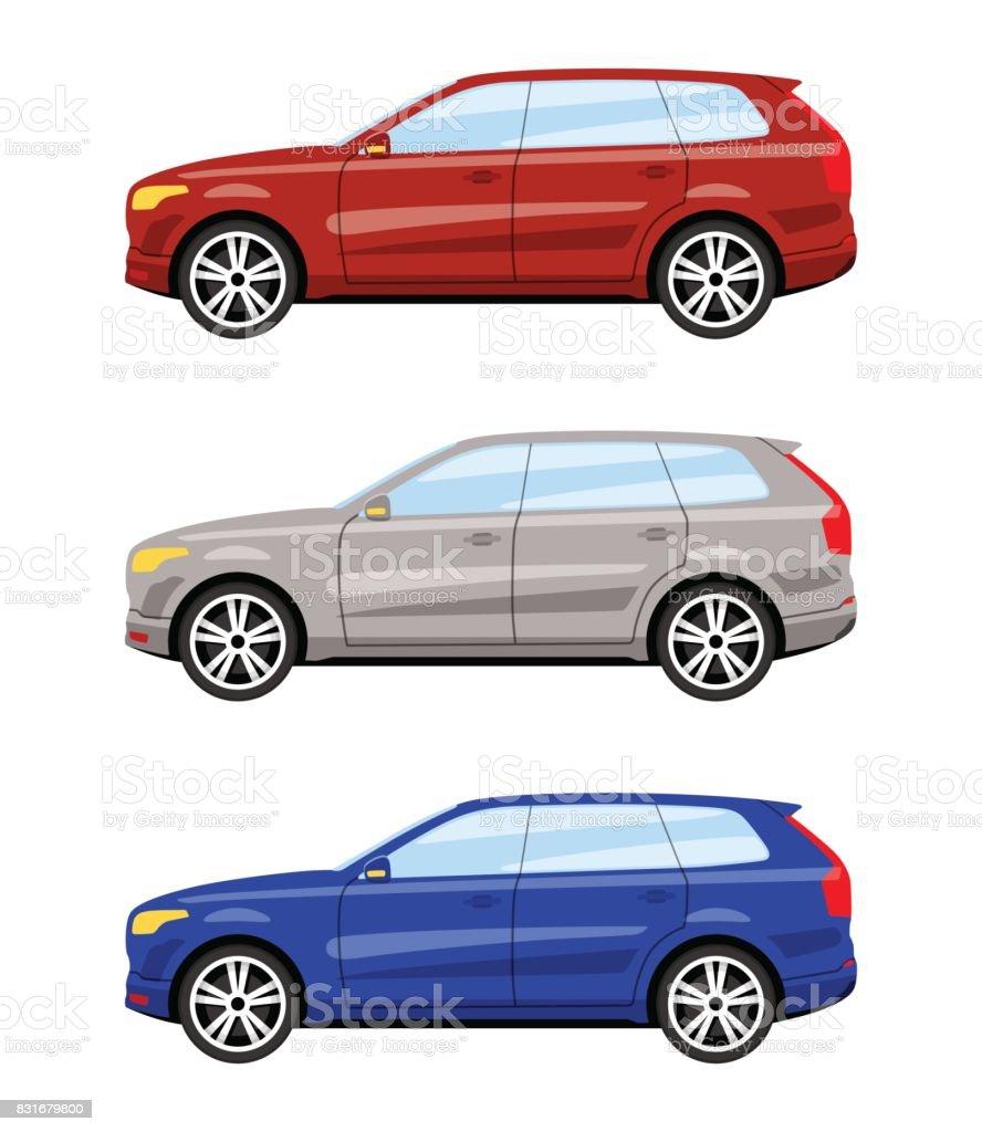 Set of cars side view. vector art illustration