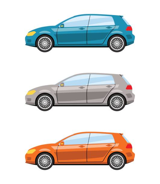 Set of cars side view. Set of cars side view different colors. Hatchback car icon detailed. Vector illustration. hatchback stock illustrations