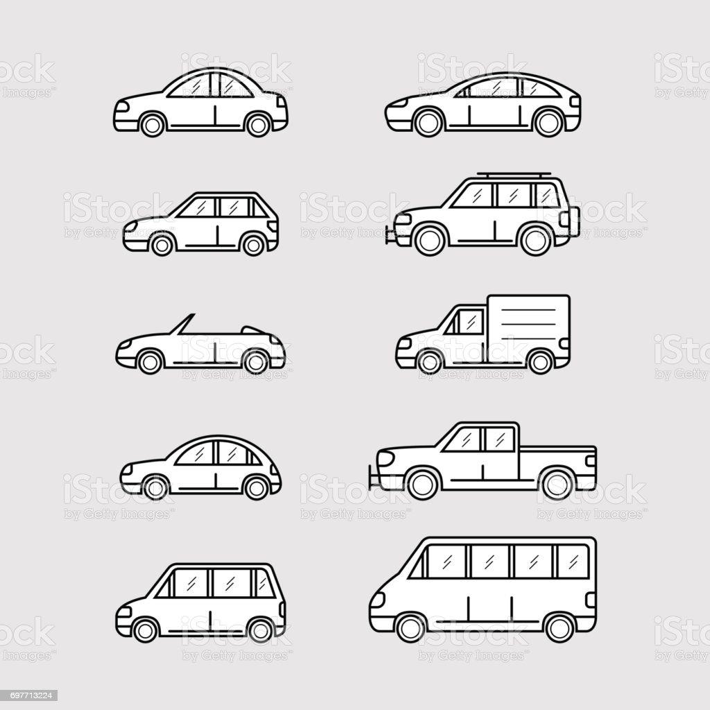 set of cars vector art illustration