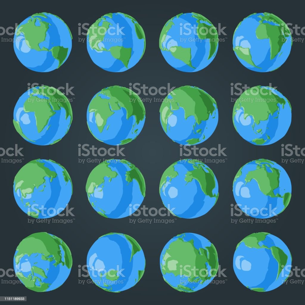 Set Of Cartoon 3d Globe With Green Continents And Blue