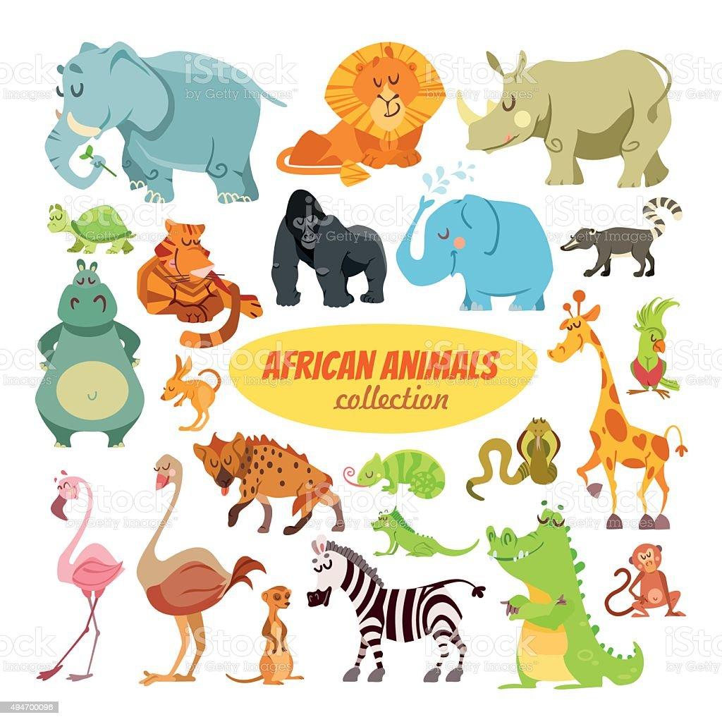 Set of cartoon african animals vector art illustration