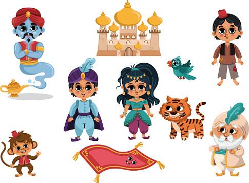 A Set of Cartoon Aladdin