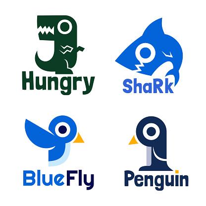set of cartoon animal style logo design