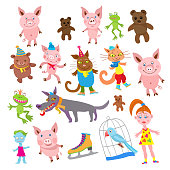 Set of Cartoon animals in clothes isolated on a white background. Funny beasts, frogs, dogs, cat, pigs, parrot, doll and zombie girl. Vector illustration.