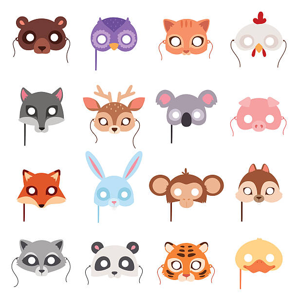 Set of cartoon animals party masks vector. Set of cartoon animals party masks vector. Animal carnival mask vector holiday illustration party fun symbols. Celebration animal carnival mask character head masquerade festival decoration. halloween cat stock illustrations