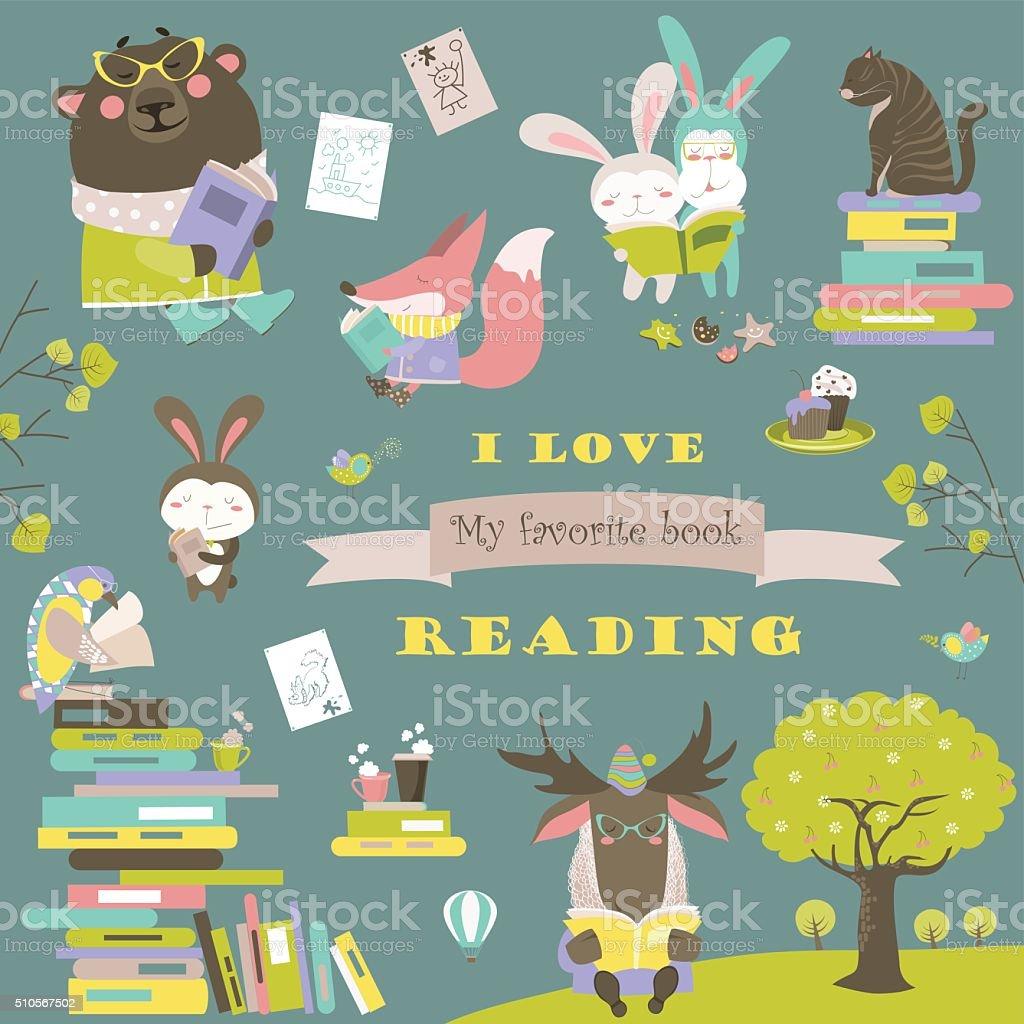 Set of cartoon animals reading books vector art illustration