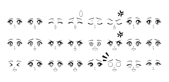 Set of cartoon anime style expressions. Contour picture for manga.