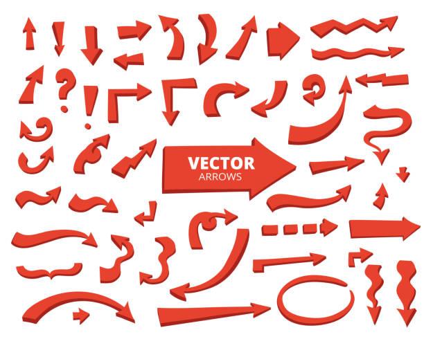 stockillustraties, clipart, cartoons en iconen met set cartoon pijlen. hand getrokken ontwerpelementen geïsoleerd op wh - breed