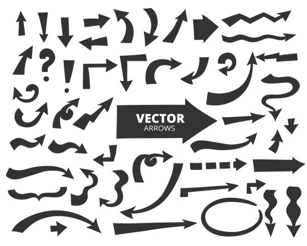 reihe von cartoon-pfeilen. handgezeichnete design-elemente isoliert auf wh - verdreht stock-grafiken, -clipart, -cartoons und -symbole