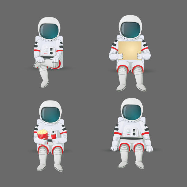 Set of cartoon astronauts sitting in various positions. Holding a sign, with legs crossed and holding pop corn and soft drink with ice isolated on a gray background. Vector. Set of cartoon astronauts sitting in various positions. Holding a sign, with legs crossed and holding pop corn and soft drink with ice isolated on a gray background. Vector illustration. astronaut floating in space stock illustrations