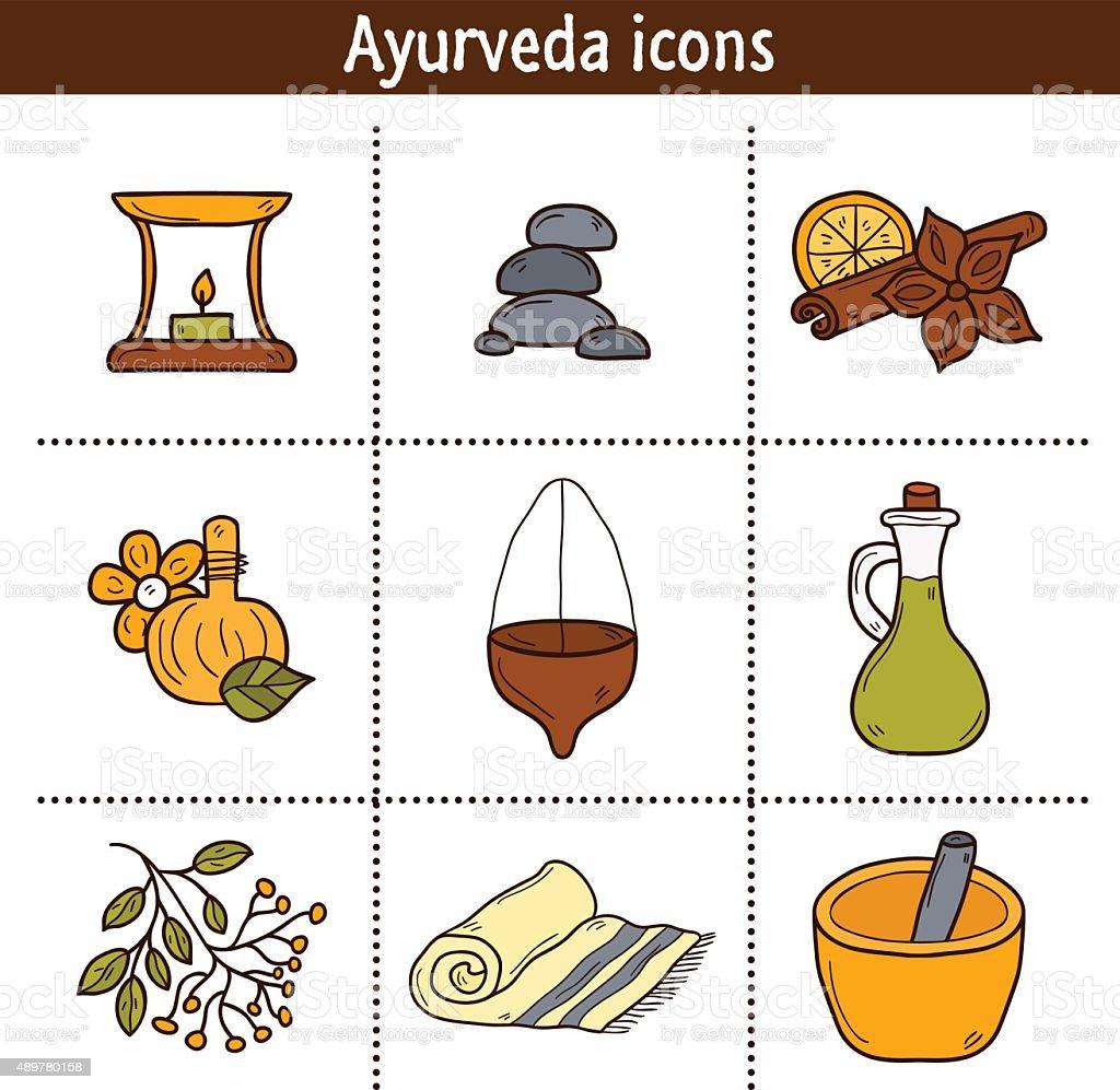 Série de dessin animé icônes ayurvédique réalisé à la main: Herbes aromatiques - Illustration vectorielle