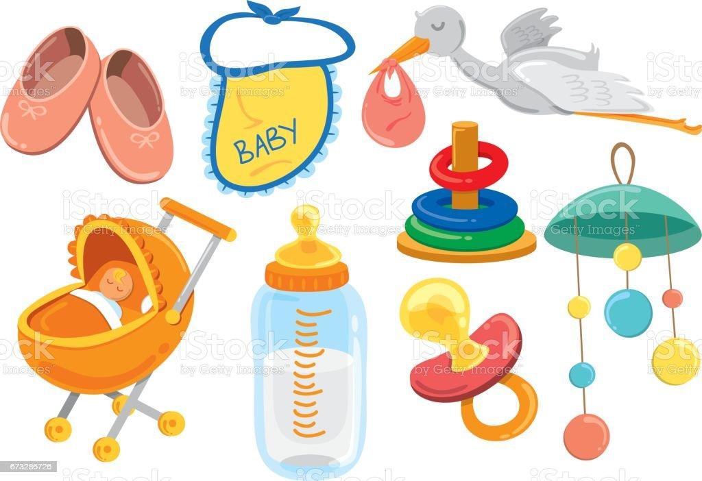만화 아기 물건의 집합 귀여운에 대한 스톡 벡터 아트 및 기타 이미지 - iStock
