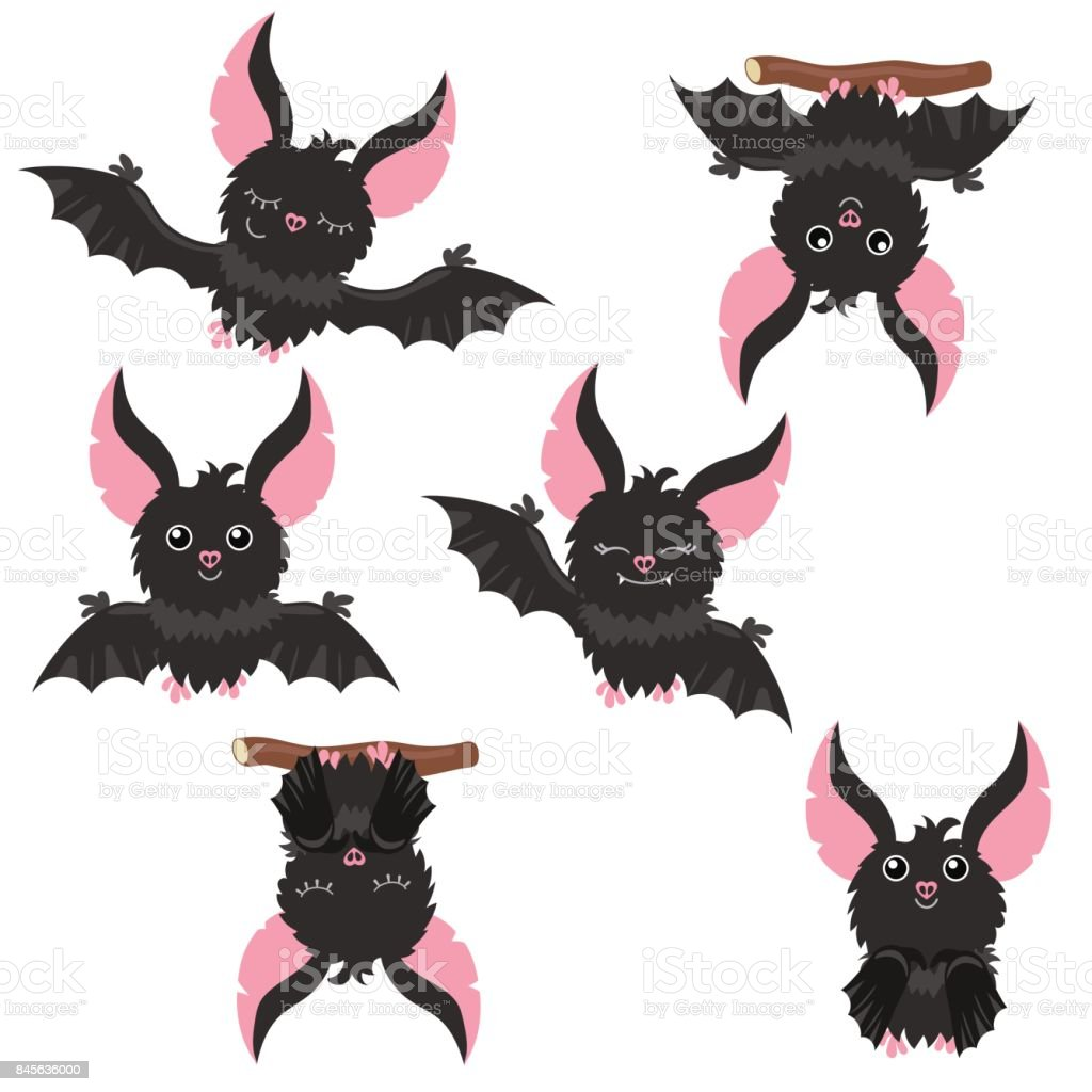 A Picture Of A Cartoon Bat set of cartoon bats stock illustration - download image now