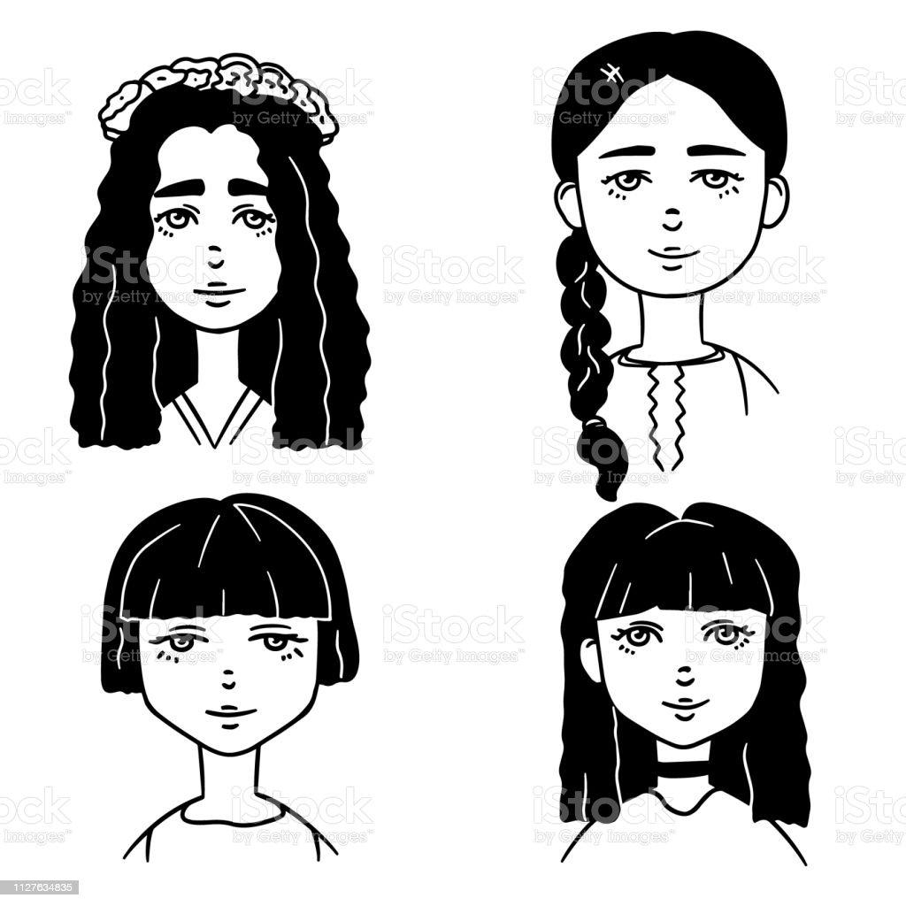 Ensemble De Croquis Dessin Animé Noir Et Blanc De Jolies
