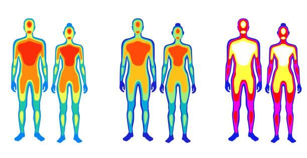 Set of cartoon body warmth thermogram man and woman vector flat illustration